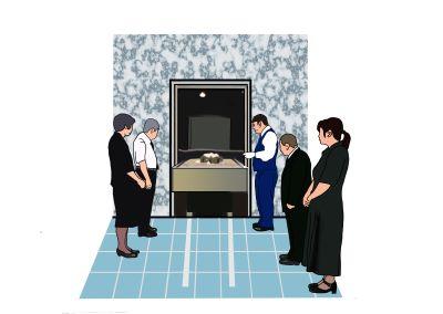 火葬場のイラスト