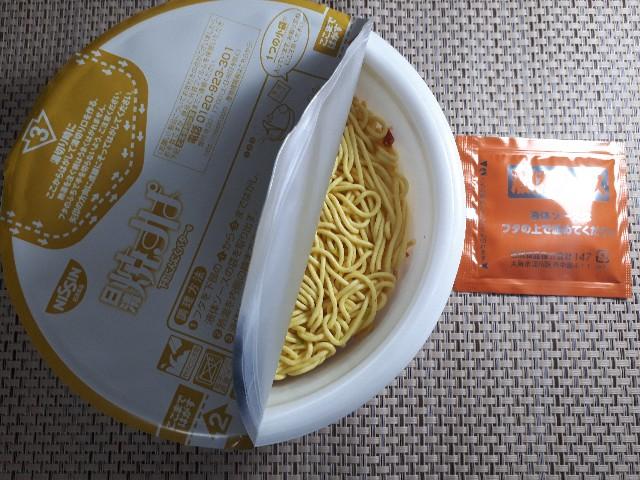 【日清焼すぱ】下町にんにくバター味を作るところ