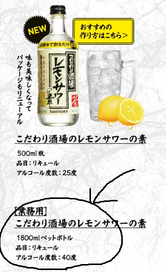 こだわり酒場レモンサワーの素の説明
