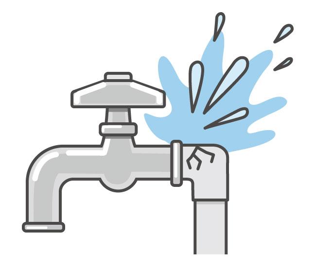 水道洩れのイラスト