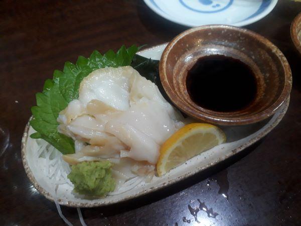 三宮ごん太、つぶ貝の刺身の外見