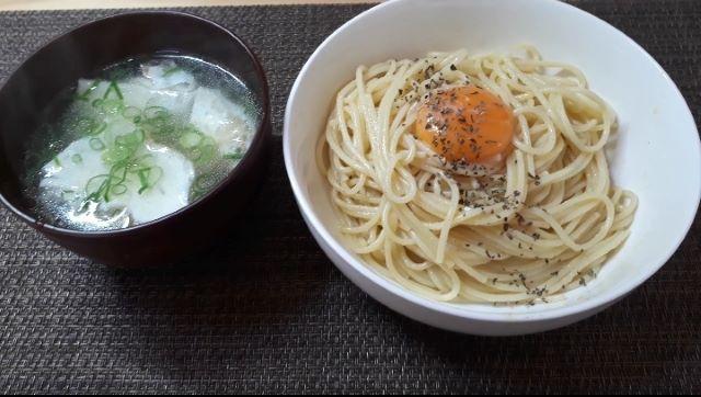 【レシピ パスタ】「釜玉スパゲッティ」を食べるところ(オリジナル写真)