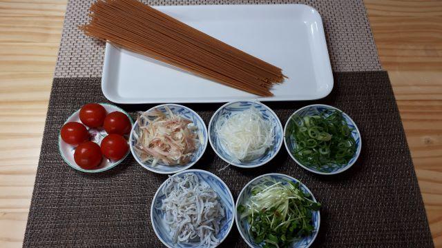 【しらすのパスタ レシピ】薬味たっぷり釜揚げしらすの材料