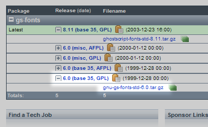 URW++ PostScript Level 2 互換フォントのダウンロード