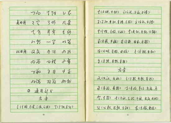 『漢字快写法』 pp. 50, 51