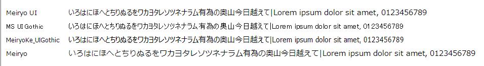 Meiryo UI 比較(11pt)