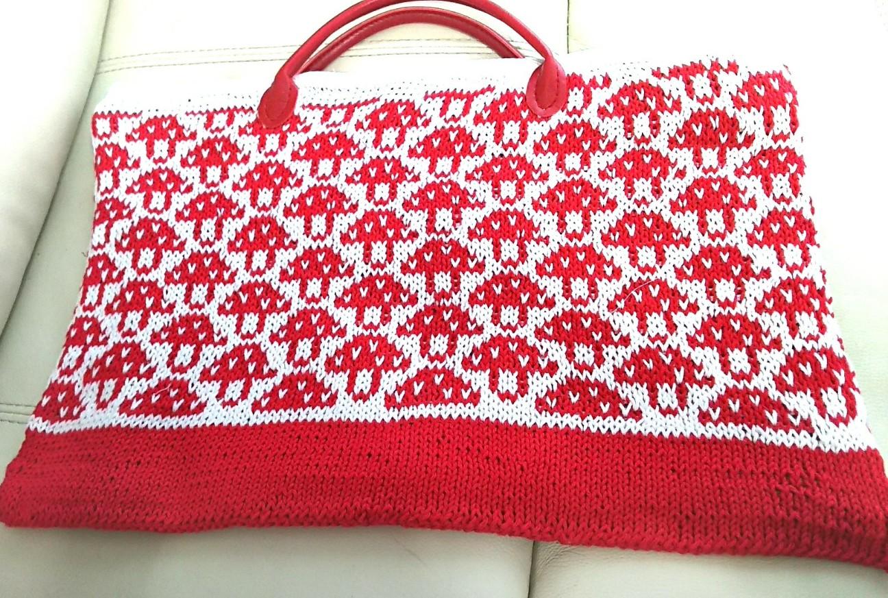 棒針編みトートバッグ平置