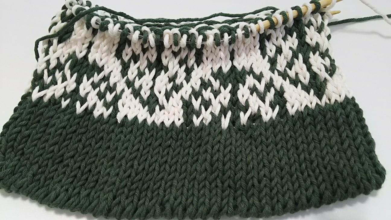 ダイソー糸のポプラ柄バッグ