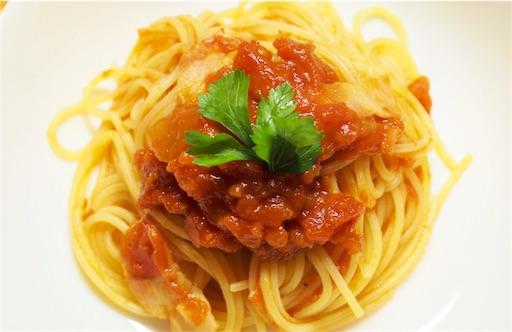 手作りトマトソースパスタ