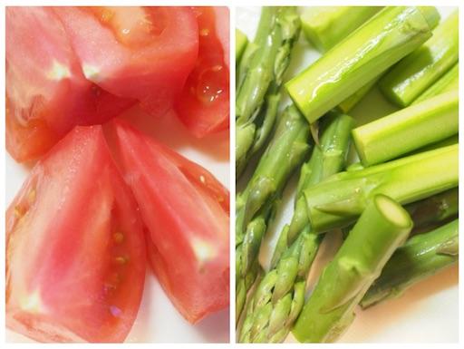 アスパラとトマトの下準備