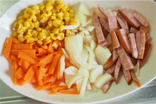 かき揚げにする野菜の準備