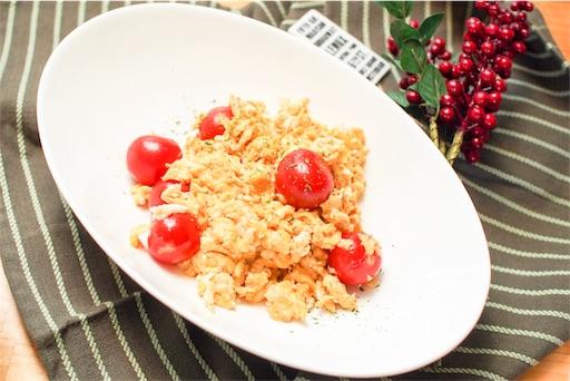 ミニトマトと卵のオイマヨ炒め