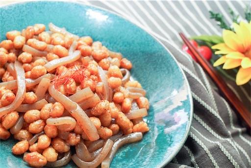 カリッと大豆とこんにゃくの甘辛和え