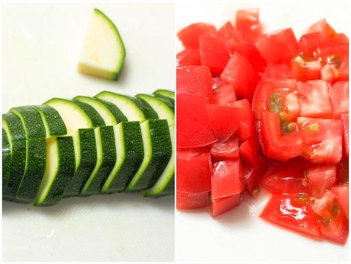 トマト、ズッキーニを切る