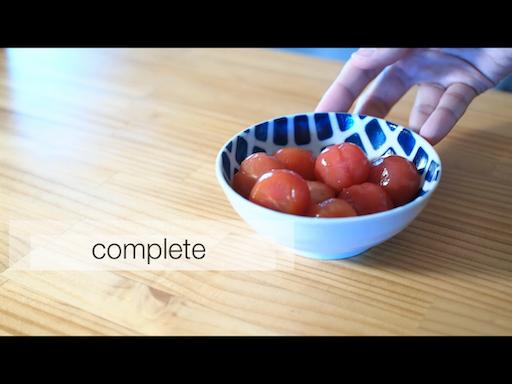 ミニトマトの白だし漬けの盛り付け例