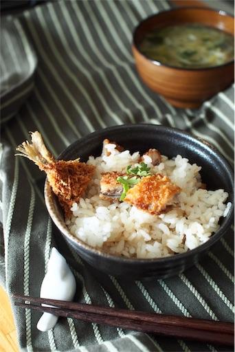 アジフライのひつまぶし風混ぜご飯2