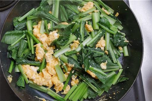 小松菜と卵の出汁和えの完成