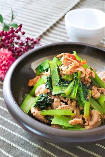 小松菜で豚の生姜焼き