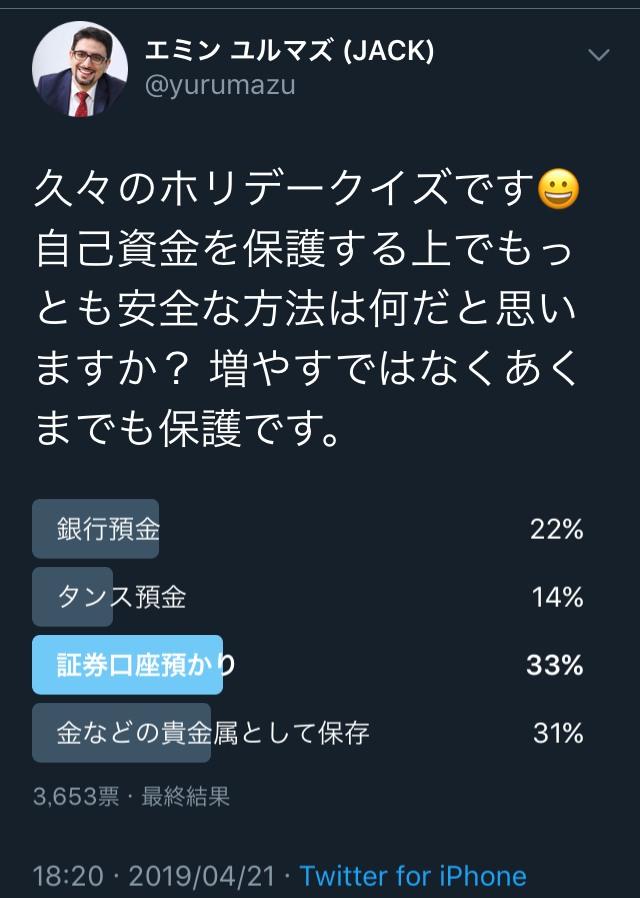 エミン ユルマズさんtwitterつぶやき(2019/4/21)