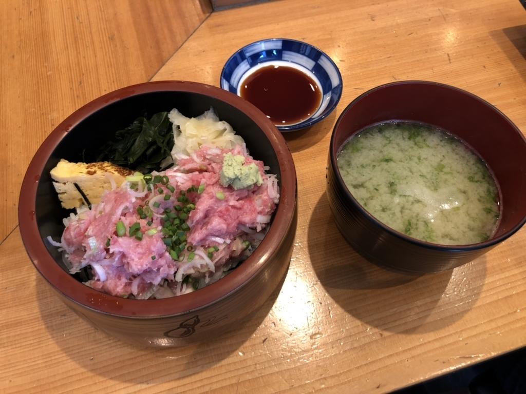 秋葉原_菊すし_ネギトロ丼_味噌汁付き