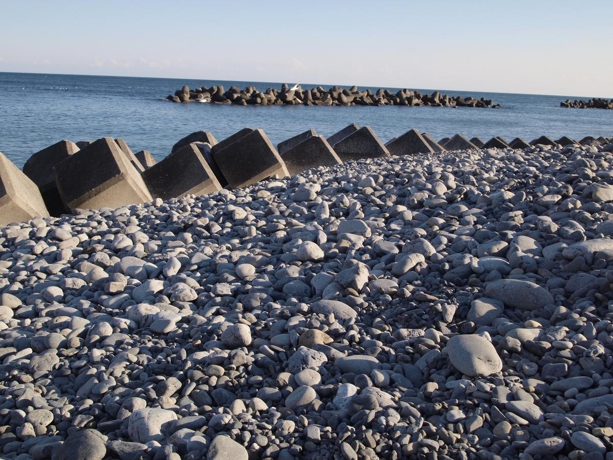 テトラポットのある海岸風景の写真