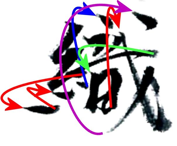 織田信長の織の書 運筆の軌跡