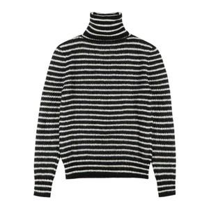 ストライプ柄モヘアセーター