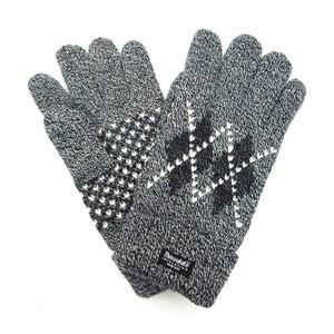 アーガイル柄のニット手袋