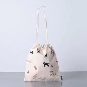 犬柄の巾着バッグ