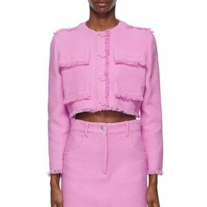 ピンクのフリンジツイードジャケット