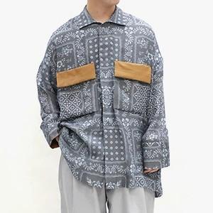 ペイズリー柄ダブルポケットシャツ