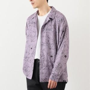 パープルの花柄長袖シャツ