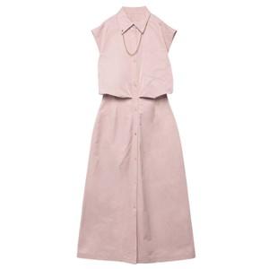 ピンクのシャツワンピース