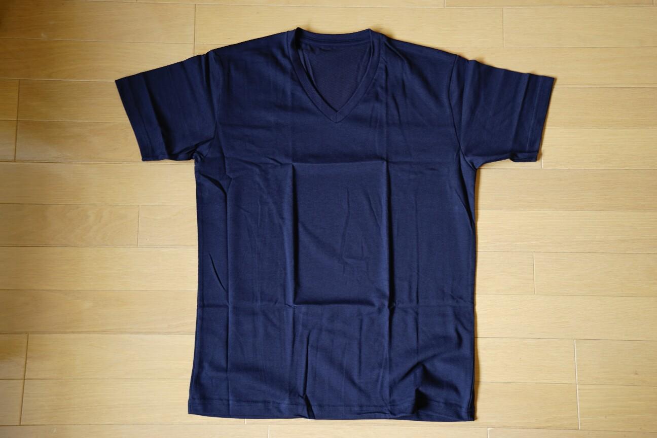 ユニクロの無地Tシャツ(ドライカラーVネックTシャツ)ネイビー