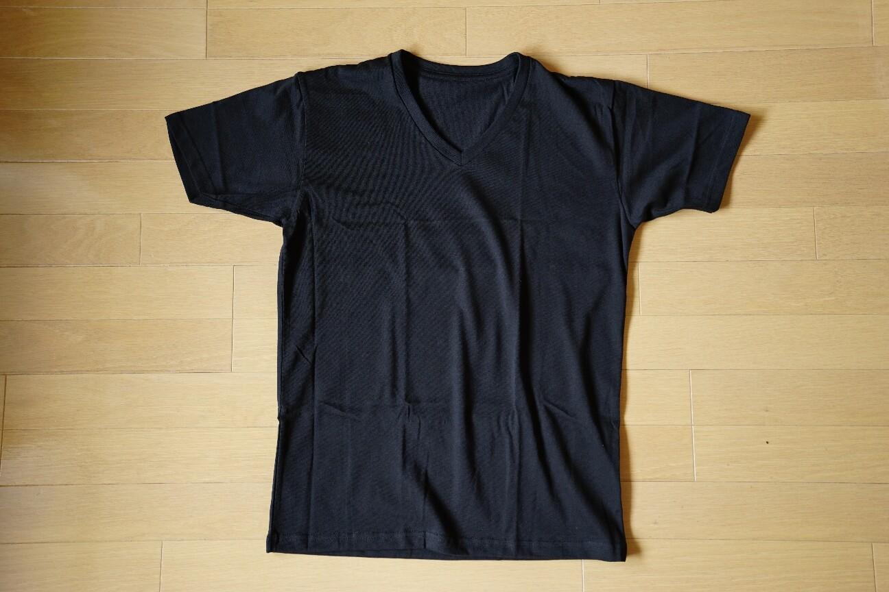 ユニクロの無地Tシャツ(ドライカラーVネックTシャツ)黒