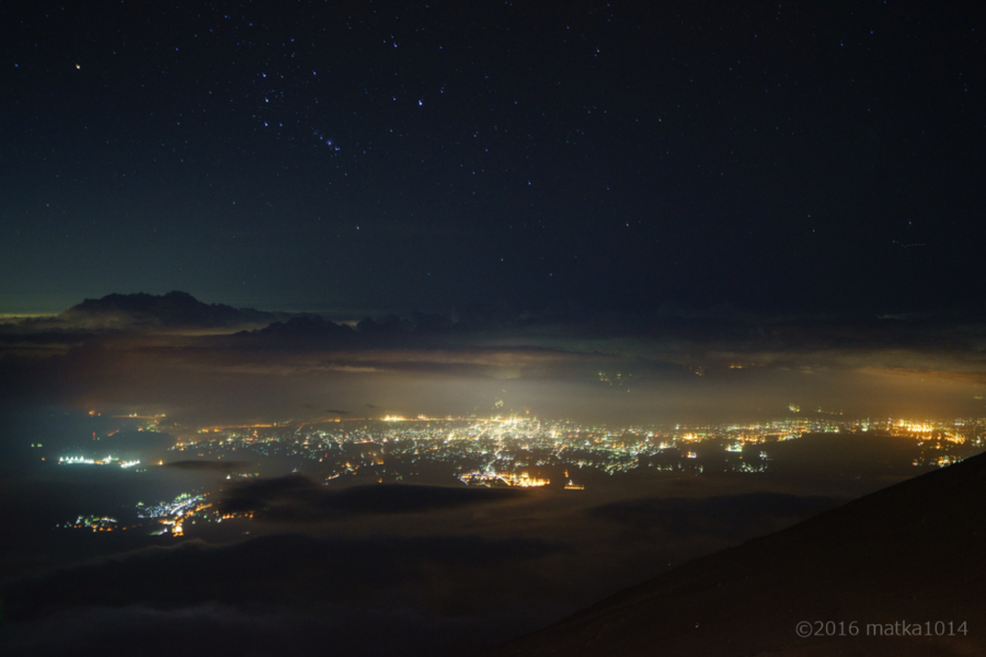 富士山登山途中からの町並み