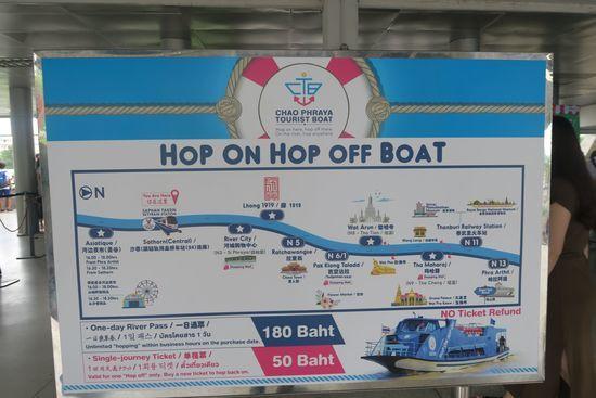 チャオプラヤーツーリストボートの停泊図