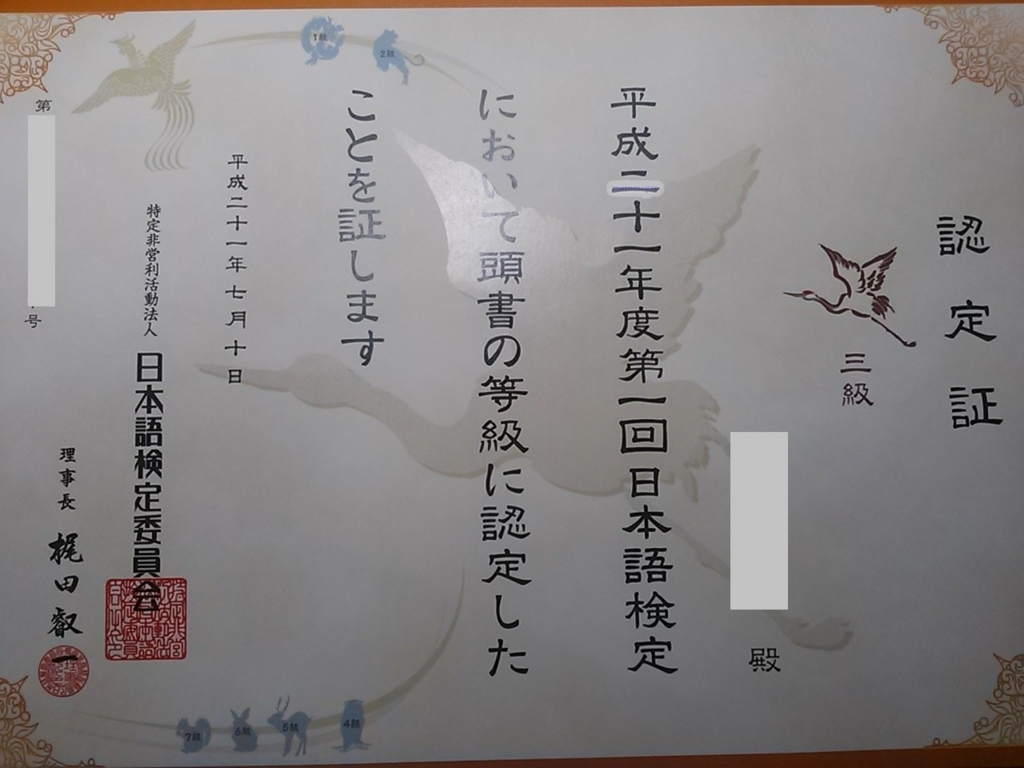 日本語検定3級 合格