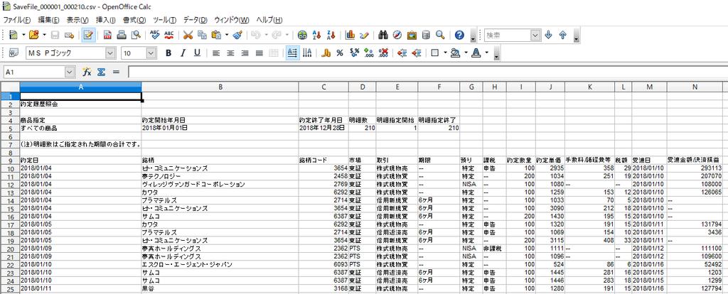 SBI証券 取引履歴 エクセルデータ