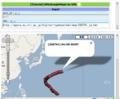 KMLoogleMaps by URLの実行結果(台風経路)