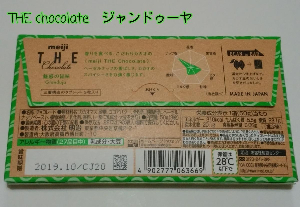 チョコレートのパッケージの裏面