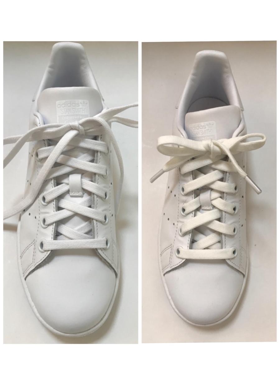 二種類の靴紐を付けたスニーカー