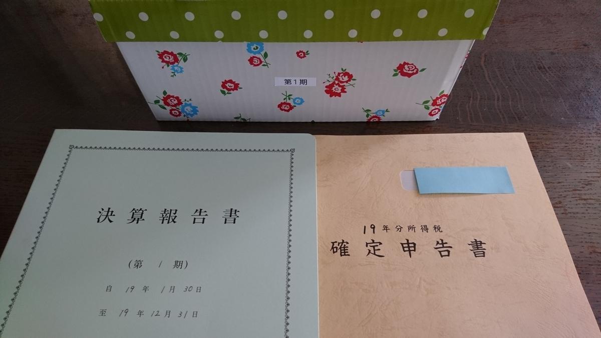決算書 確定申告書 決算書類の箱