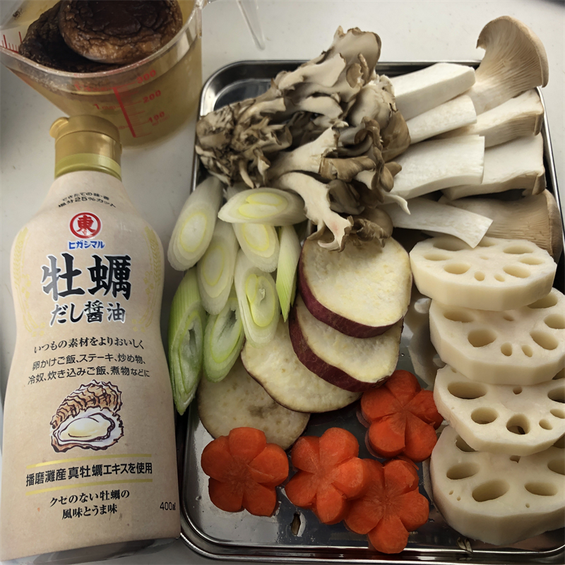 きのこと根菜のまろやか煮物 材料