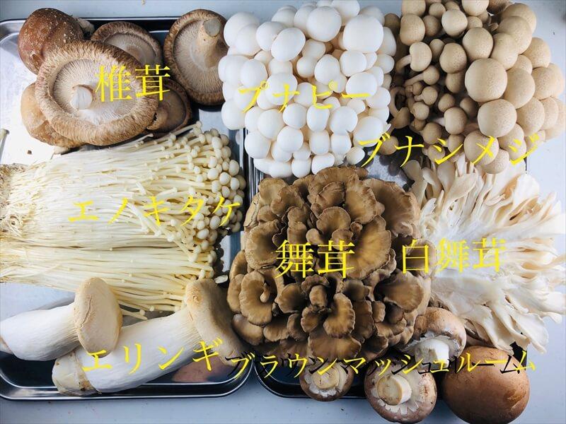 椎茸・ブナピー・ぶなしめじ・エノキ・エリンギ・まいたけ・白舞茸・ブラウンマッシュルーム