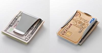 マネークリップSTORUSにお札とカードを挟んでいる写真
