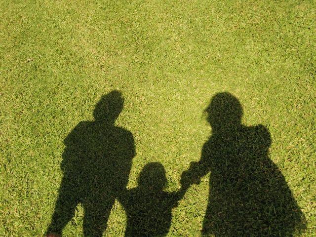 芝生に映る家族の影