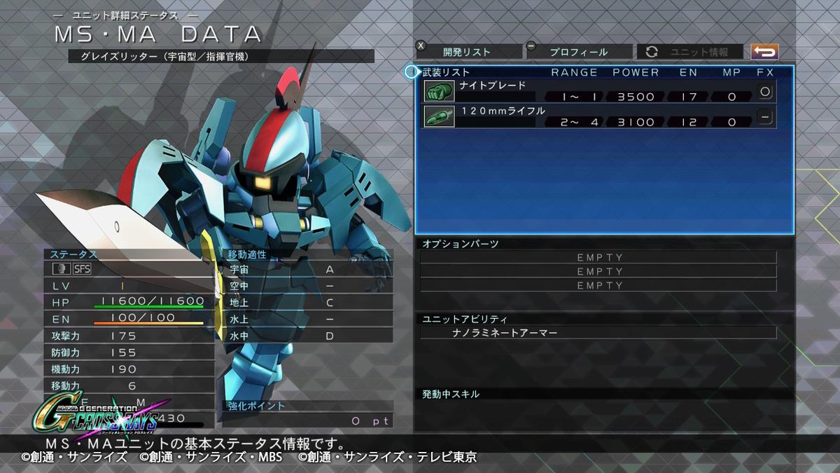 グレイズリッター宇宙型/指揮官機 機体性能