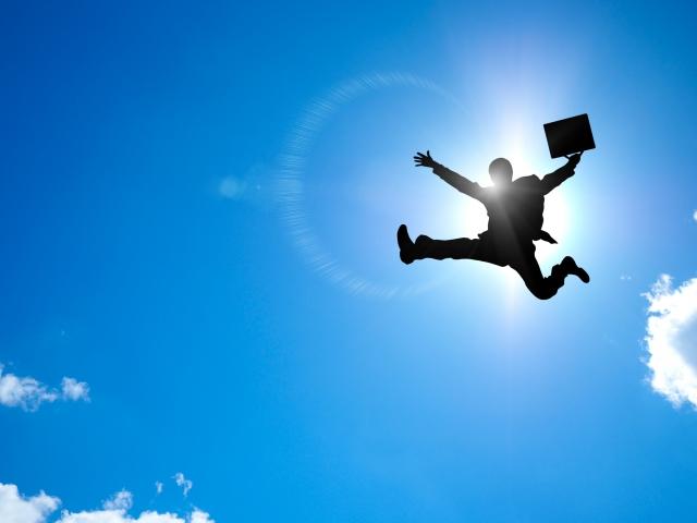 跳躍するサラリーマン