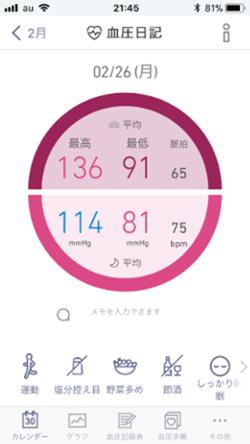 血圧日記画面